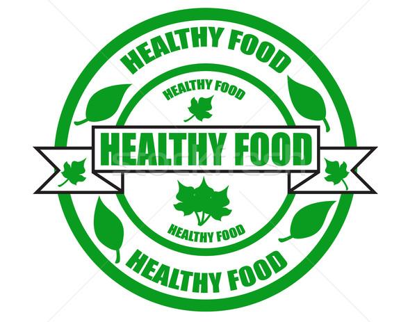 здорового Label текста здоровое питание здоровья зеленый Сток-фото © carmen2011