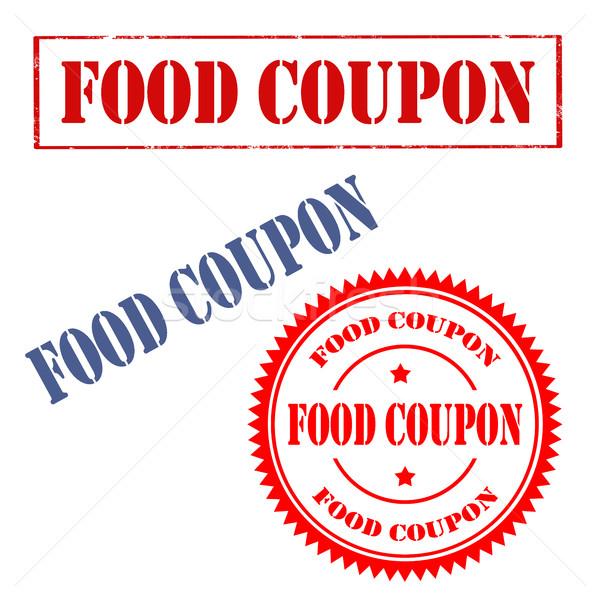 Gıda ayarlamak pulları metin iş imzalamak Stok fotoğraf © carmen2011