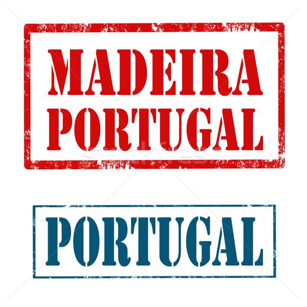 Madeira damga ayarlamak pulları metin Portekiz Stok fotoğraf © carmen2011