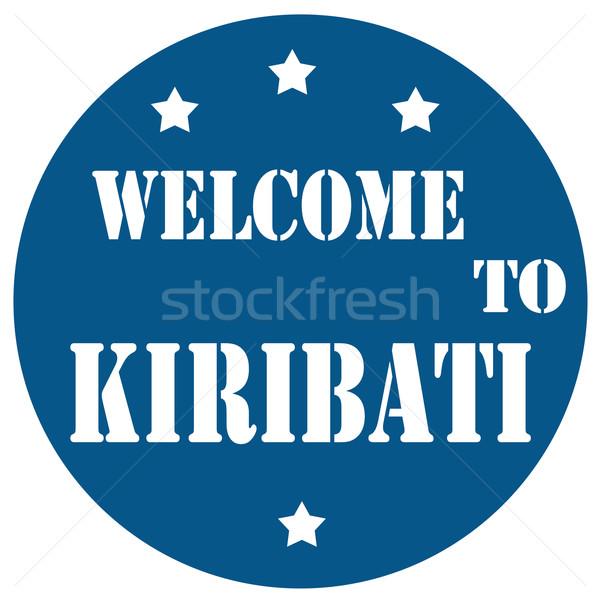 Welkom Kiribati Blauw stempel tekst reizen Stockfoto © carmen2011
