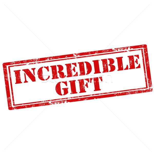 Hihetetlen ajándék grunge pecsét szöveg felirat Stock fotó © carmen2011