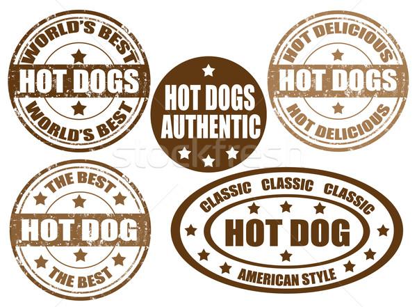 Stok fotoğraf: Sıcak · köpekler · pulları · ayarlamak · grunge · kauçuk