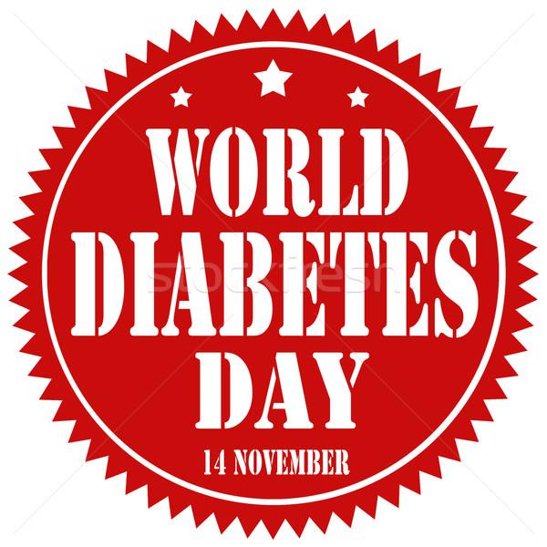 Monde diabète rouge étiquette texte informations Photo stock © carmen2011