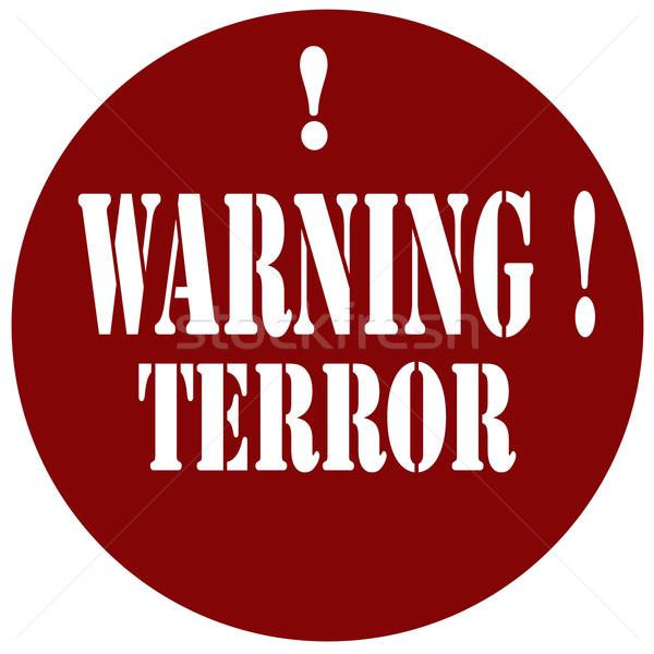 Avertissement tampon texte crime icône terreur Photo stock © carmen2011