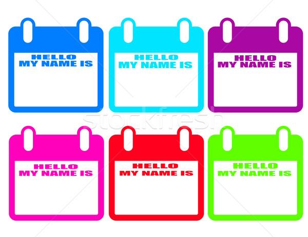 Stock fotó: Hello · név · névtábla · papír · modell · háttér