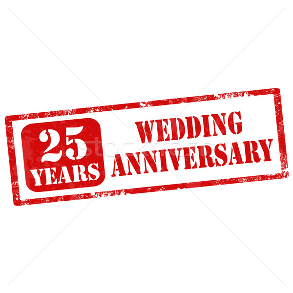 Evlilik yıldönümü grunge metin 25 yıl Stok fotoğraf © carmen2011