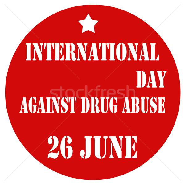 международных день наркотиков злоупотребление красный Label Сток-фото © carmen2011