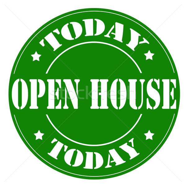 Nyitva ház ma zöld bélyeg szöveg Stock fotó © carmen2011