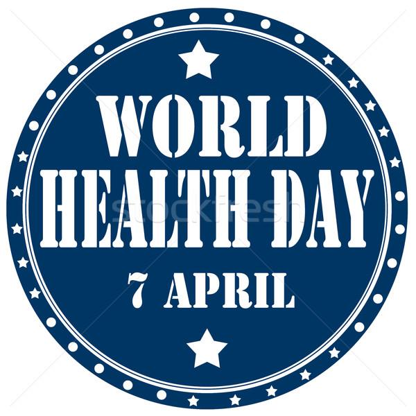 世界 健康 ラベル 文字 にログイン 青 ストックフォト © carmen2011