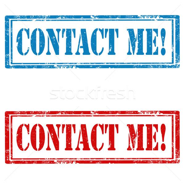 Conjunto selos grunge borracha texto contato Foto stock © carmen2011