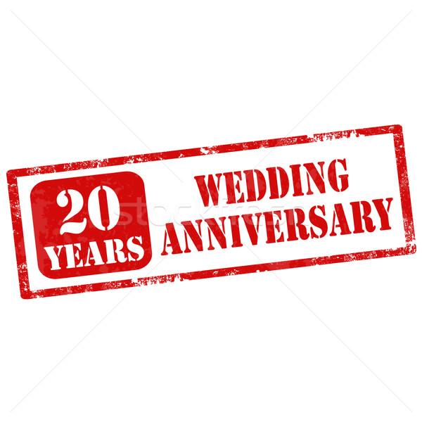 Házassági évforduló grunge pecsét szöveg 20 évek Stock fotó © carmen2011
