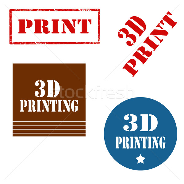 Foto stock: 3D · conjunto · selos · texto · projeto · imprimir