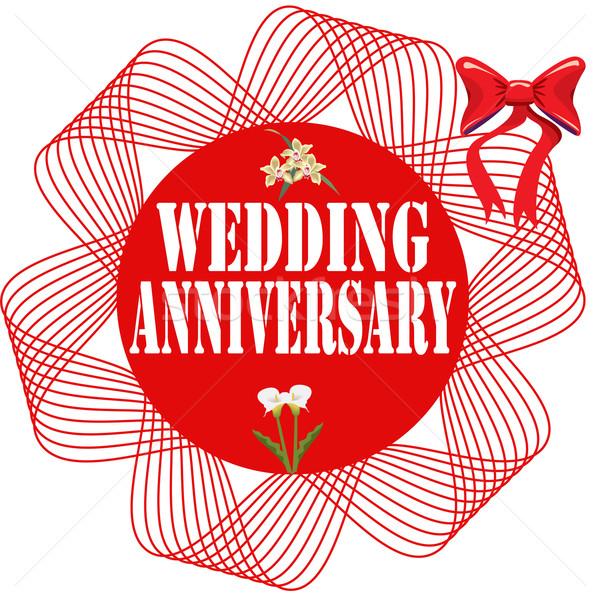 Házassági évforduló szöveg esküvő szeretet piros ünneplés Stock fotó © carmen2011