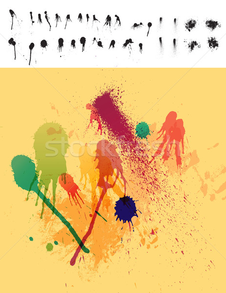 Clean Detailed Set of 30 Paint Drips & Spatter Stock photo © CarpathianPrince