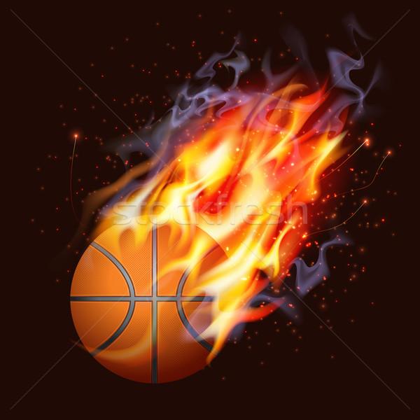 バスケットボール 火災 テクスチャ 抽象的な オレンジ 煙 ストックフォト © CarpathianPrince