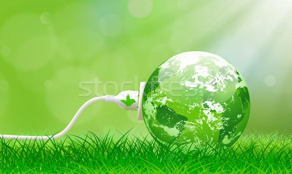 Zöld energia dugó Föld elektromos buja fű Stock fotó © CarpathianPrince