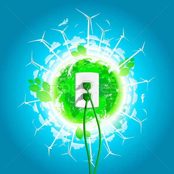 Stockfoto: Groene · energie · plug · wereld · wereldbol · abstract · aarde