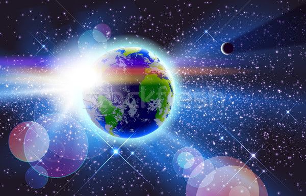 Planet Earth & Sun in Space Stock photo © CarpathianPrince