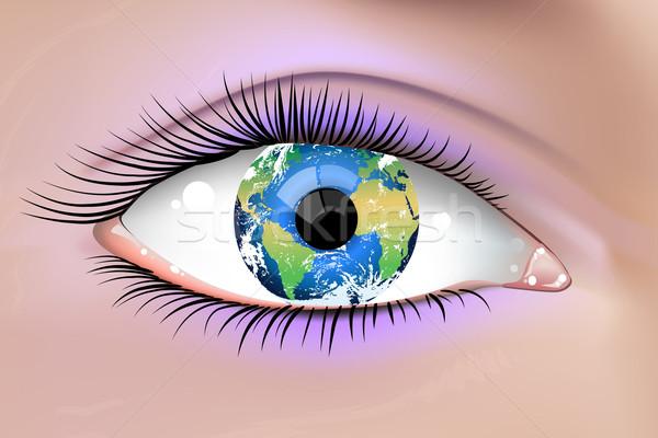 地球 眼 実例 美しい 女性 地球 ストックフォト © CarpathianPrince