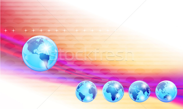 Shiny Blue Marble globes abstract template showing five differen Stock photo © CarpathianPrince