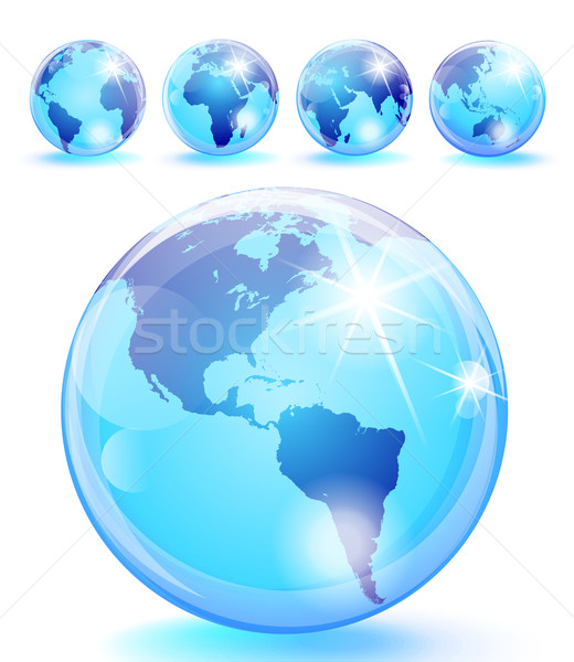 Glossy Planet Earth Marbles 5 views Stock photo © CarpathianPrince