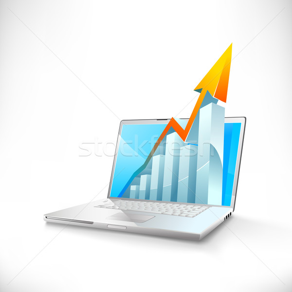 vector laptop with growth bar graph Stock photo © CarpathianPrince
