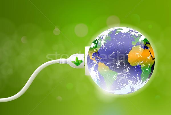 Groene energie plug aarde elektrische wereldbol natuur Stockfoto © CarpathianPrince