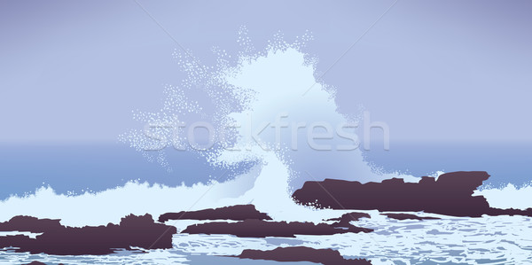large Pacific Ocean wave crashing into rocks Stock photo © CarpathianPrince