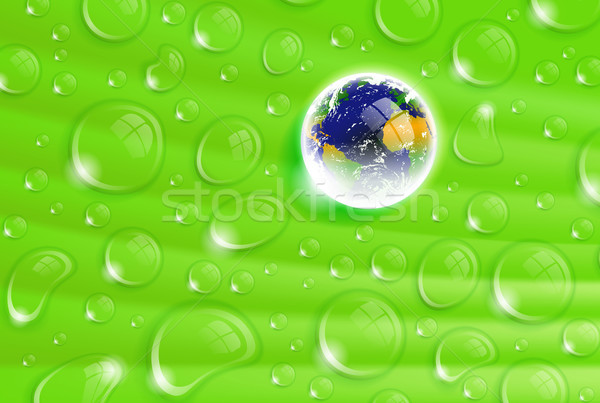 planet Earth inside a dew drop on a green leaf Stock photo © CarpathianPrince