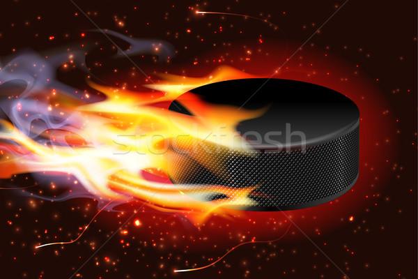Hockey Puck On Fire Stock photo © CarpathianPrince
