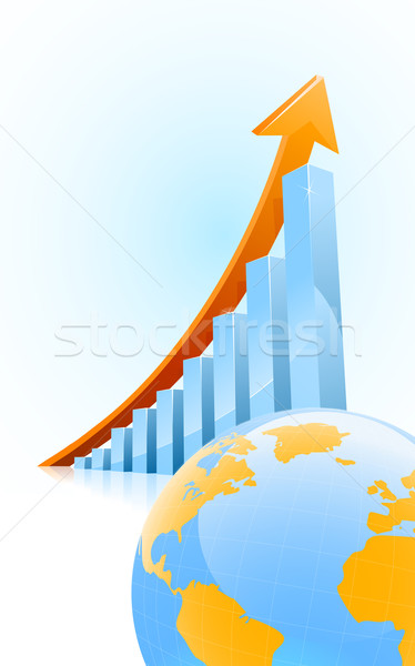 Business groei vector staafdiagram wereldbol Stockfoto © CarpathianPrince