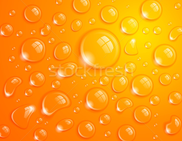 Arancione gocce d'acqua acqua pulita drop superficie abstract Foto d'archivio © CarpathianPrince