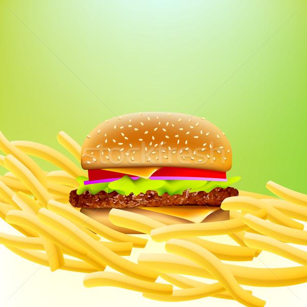 Vector hamburguesa con queso papas fritas cama for Cama hamburguesa