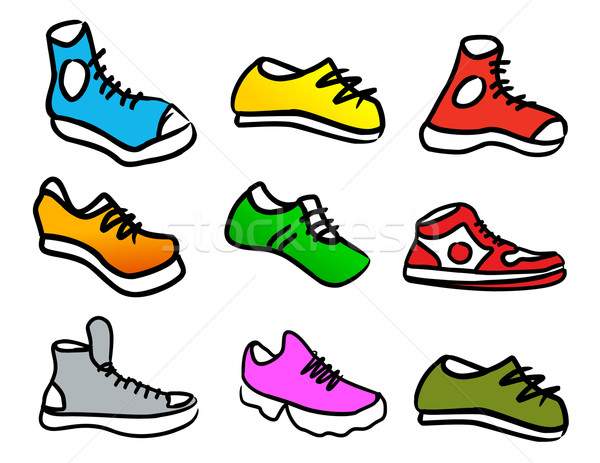 Collectie abstract schoenen ingesteld kleurrijk cartoon Stockfoto © CarpathianPrince