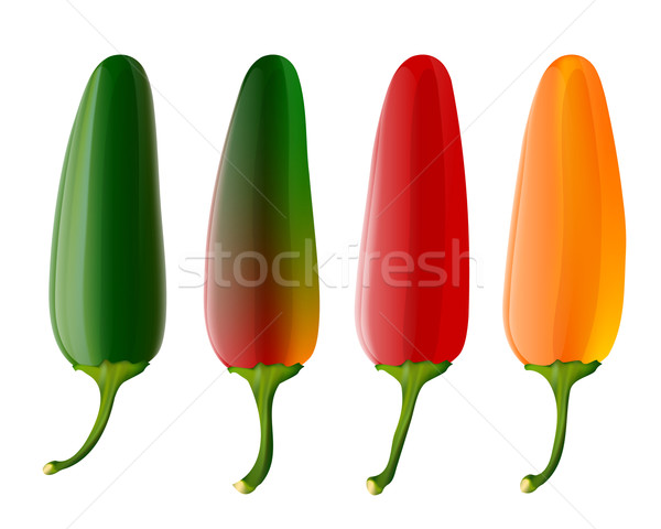 Stock photo: Set of 4 jalapeno peppers