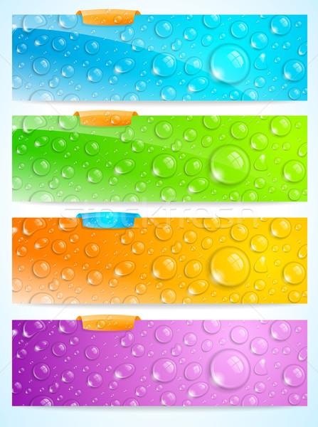 スタイリッシュ 水滴 バナー セット 4 水 ストックフォト © CarpathianPrince
