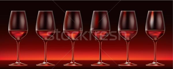 6 ベクトル 赤ワイン 眼鏡 暗い パーティ ストックフォト © CarpathianPrince