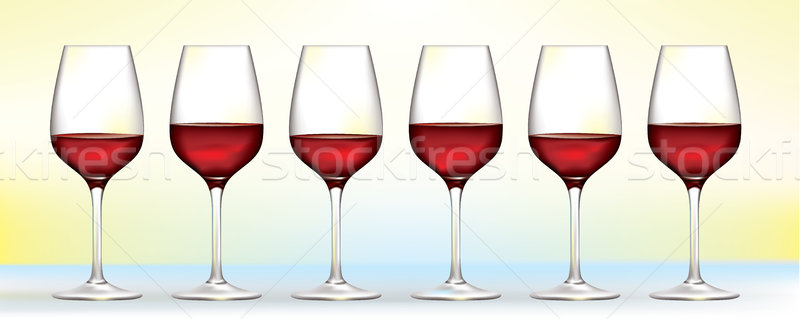 Stock photo: six vector red wine glasses