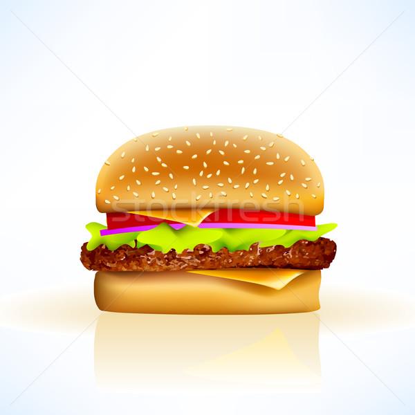 Delicioso realista vector hamburguesa con queso suave todo Foto stock © CarpathianPrince