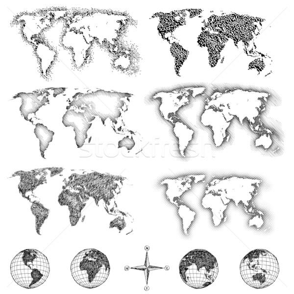 World map design elements. Pixels, lines, doodle & halftone Stock photo © CarpathianPrince