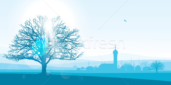 Photo stock: Européenne · village · paysage · belle · illustration