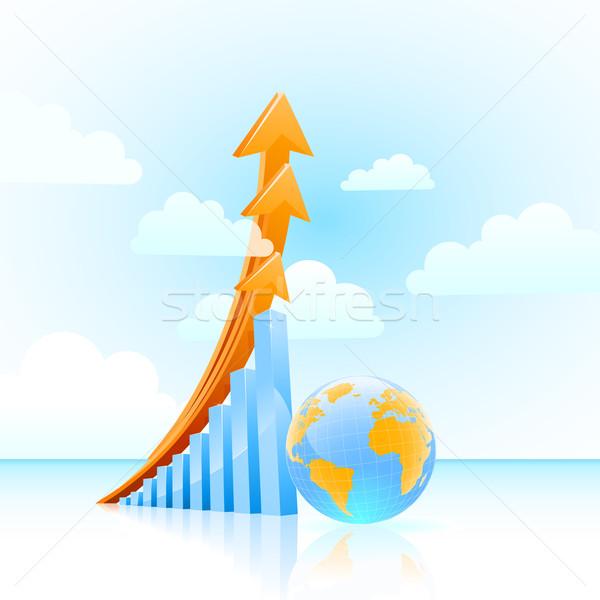 Stock photo: vector global growth bar graph
