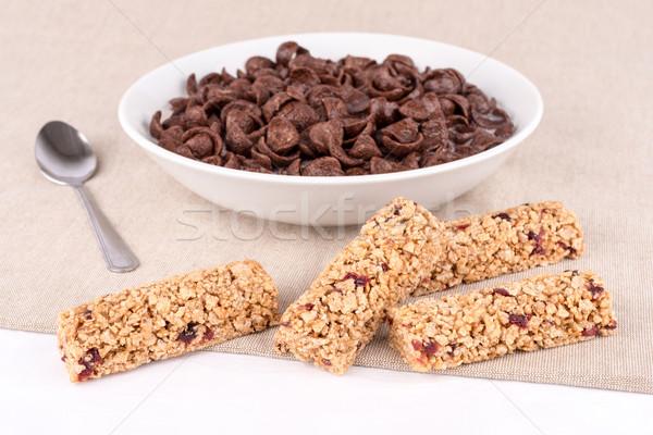 çikolata tahıl çubuklar meyve yemek tahıl Stok fotoğraf © Carpeira10