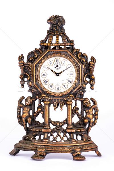 Antika saat yalıtılmış beyaz Metal hayat Stok fotoğraf © Carpeira10