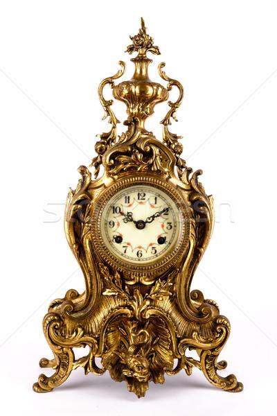 Antika saat yalıtılmış beyaz Metal zaman Stok fotoğraf © Carpeira10