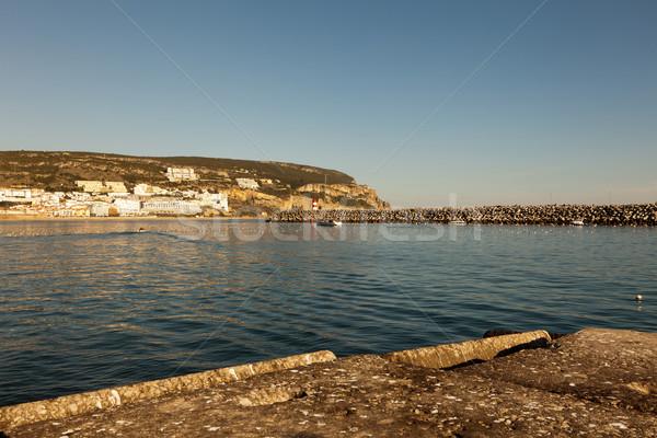 Deniz feneri liman şehir doğa ışık dağ Stok fotoğraf © Carpeira10