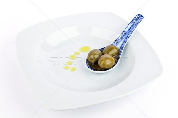 Zeytin kaşık zeytinyağı yalıtılmış gıda arka plan Stok fotoğraf © Carpeira10