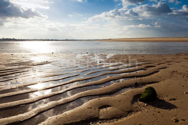 Küçük plaj bankalar gökyüzü doğa mavi Stok fotoğraf © Carpeira10