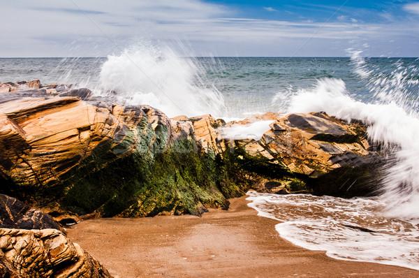 Sıçrama kayalar kıyı plaj su Stok fotoğraf © Carpeira10