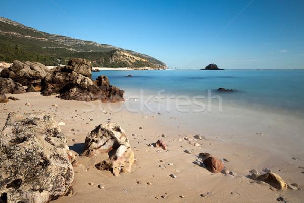 пляж устрашающий пород природного парка облака Сток-фото © Carpeira10